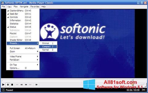 Screenshot Media Player Classic para Windows 8.1