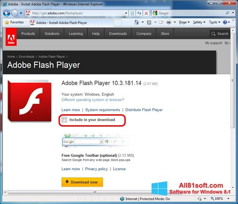 Screenshot Adobe Flash Player para Windows 8.1