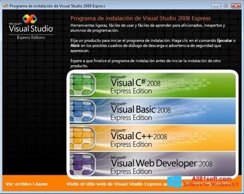 Screenshot Microsoft Visual Studio para Windows 8.1