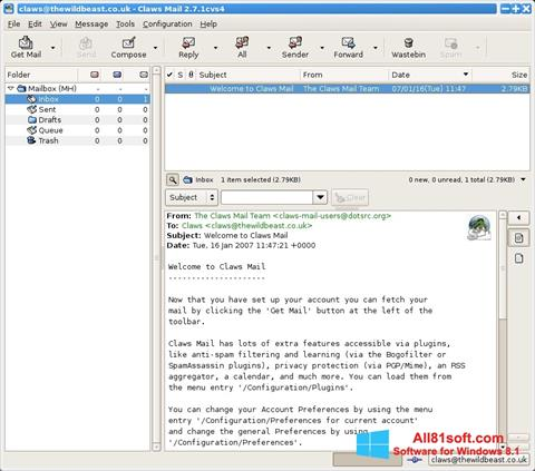 Screenshot Claws Mail para Windows 8.1