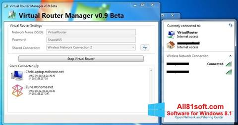 Screenshot Virtual Router Manager para Windows 8.1