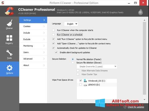 Screenshot CCleaner para Windows 8.1