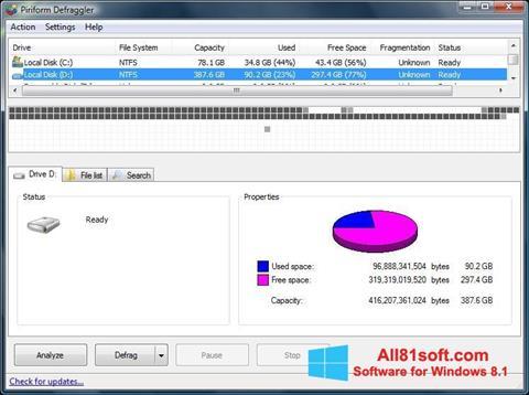 Screenshot Defraggler para Windows 8.1